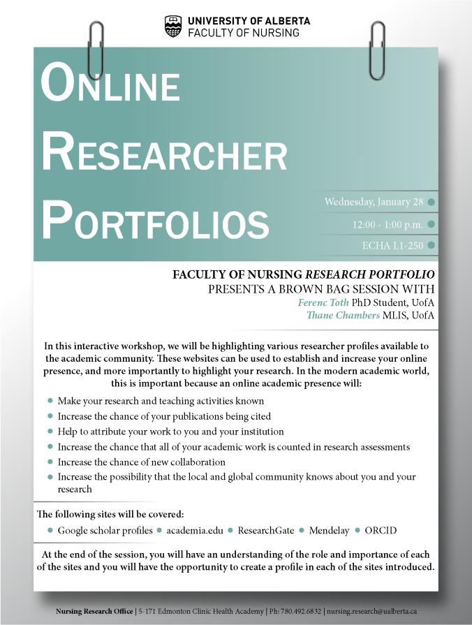 Online Researcher Portfolios 28JAN2015