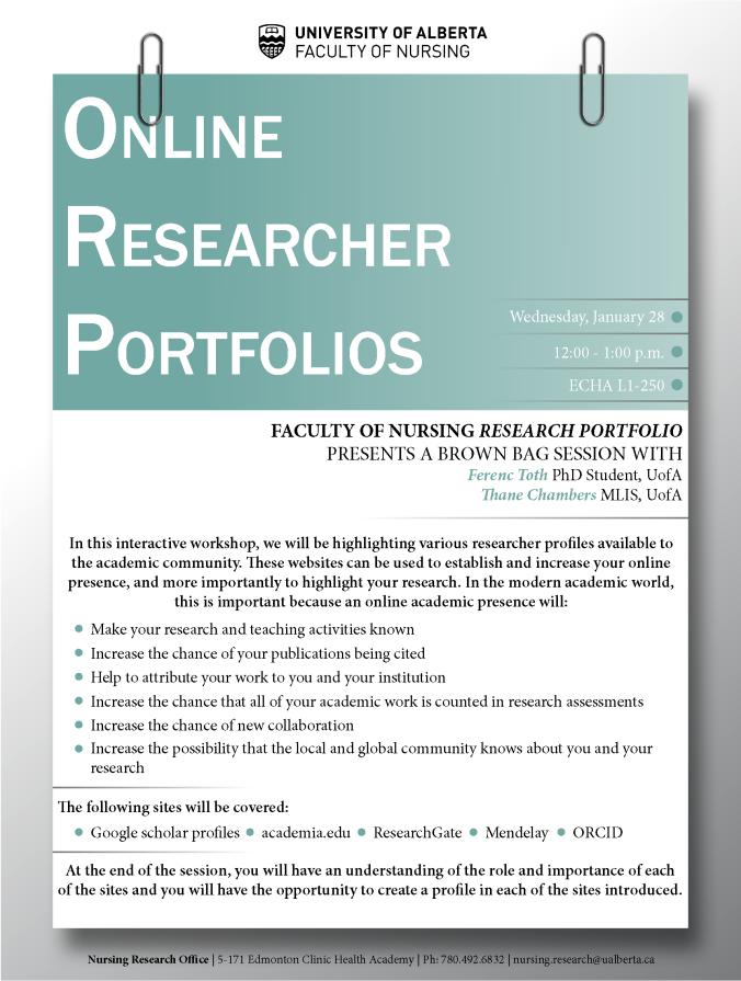 Online Researcher Portfolios 28JAN2015